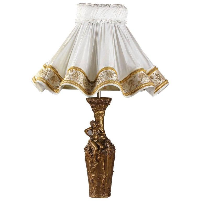 Paris Porcelain Art Nouveau Period Lamp Chinese Taste: Late 19th Century Jules Meliodon Bronze-Mounted Vase