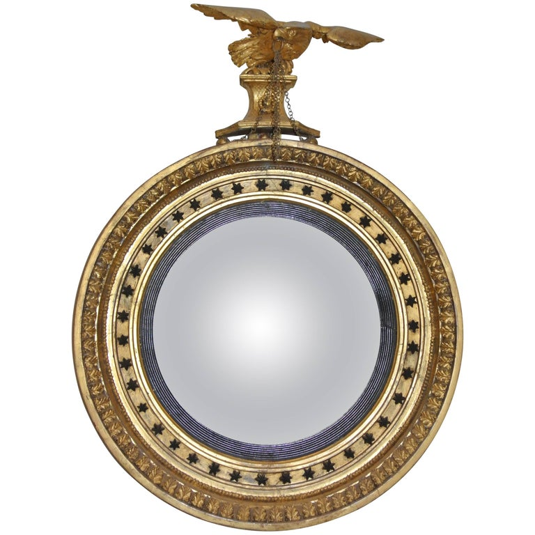 Regency Giltwood Eagle And Stars Convex Mirror