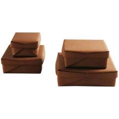 """Quadra"" Square Leather Box Designed by Oscar Maschera"