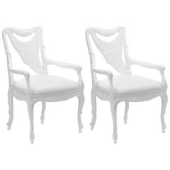 Pair of White Lacquered Chairs in the Manner of Tony Duquette