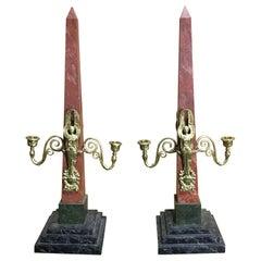 Pair of Empire Style Obelisk Two-Light Candelabra