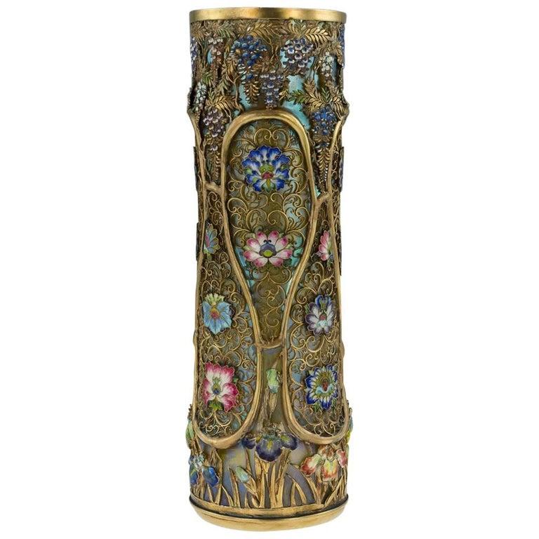 19th Century Japanese Solid Silver-Gilt & Enamel, Loetz Vase, G.T Marsh