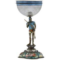 Antique 19th Century Austrian Solid Silver Enamel & Rock Crystal Cup, circa 1880