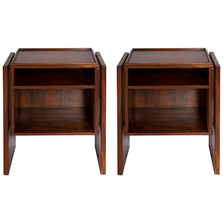 Pair of Brazilian Rosewood Side Table by Joaquim Tenreiro