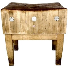 Scandinavian Vintage Butchers Block with a Rich Distressed and Worn Finish