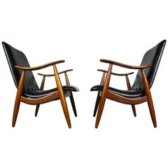 Pair of Teak Lounge Chairs by Louis Van Teeffelen Dutch Design 1960 Black Brown