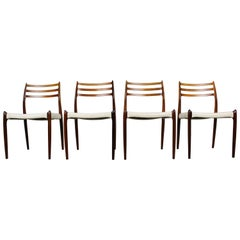 1950s Danish Dining Chairs Model 78 Niels Otto Moller Rosewood White Leather
