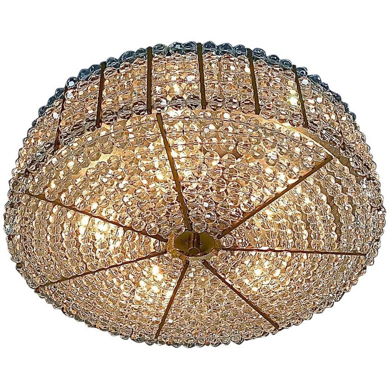 Emil Stejnar Sparkling Drum Flush Mount Lucite Acrylic Br Ceiling Lamp 1955 For