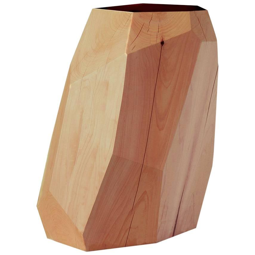Stool/Side Table in Natural Cedar with Black Marble Insert