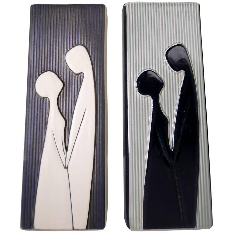 1958 Holm Sorensen for Soholm White, Grey, Black, Green Ceramic Relief Vases For Sale
