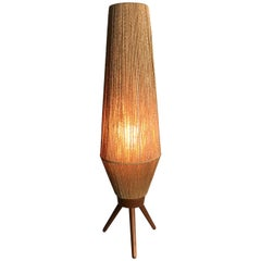 Mid-Century Modern Rope and Teak Table Lamp by Fog & Mørup