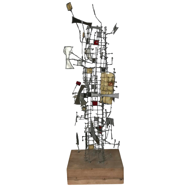Abstract Metal and Glass Sculpture by Gertrude Schreiber, Cranbrook School