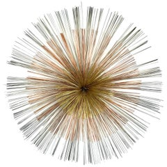 """Large Tri-Color """"Spray"""" Hanging Wall Sculpture by Curtis Jere after Bertoia"""