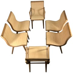 Set of Six Midcentury Dining Chairs, Cerused Oak and Cane by Russel Wright