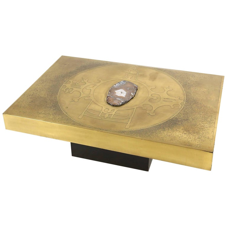 Etched Brass and Agate Coffee Table by Marc D'Haenens For Sale