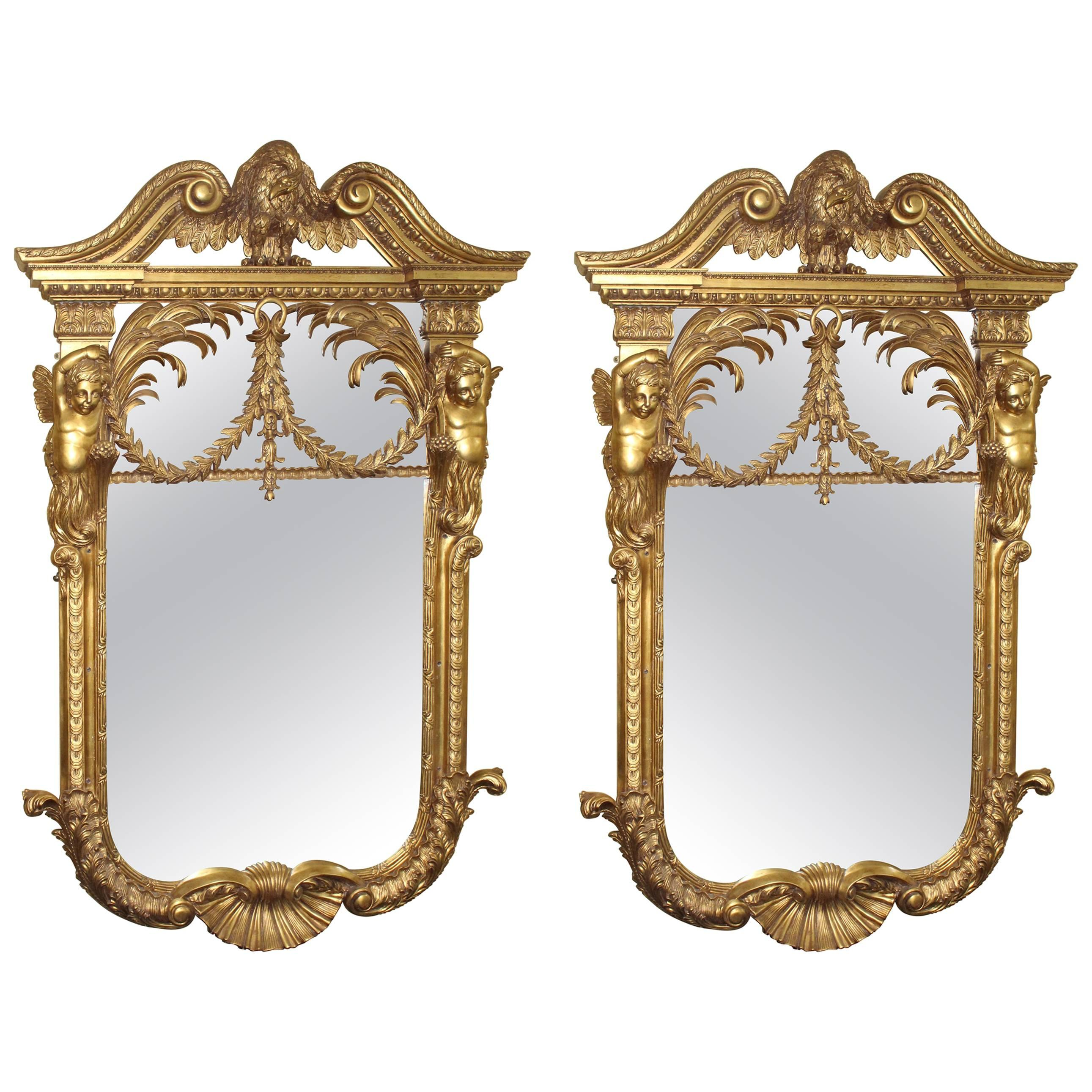 Ornate hand mirror Mirror Clipart Black White Superb Pair Of Ornate Handcarved Gilt Mirrors For Sale 1stdibs Superb Pair Of Ornate Handcarved Gilt Mirrors For Sale At 1stdibs