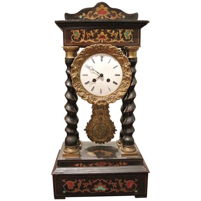 19th Century French Empire Portico Clock For Sale