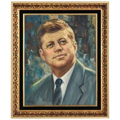 JFK Presidential Portrait Modern Abstract Background Signed H.E. Chung, 1960s