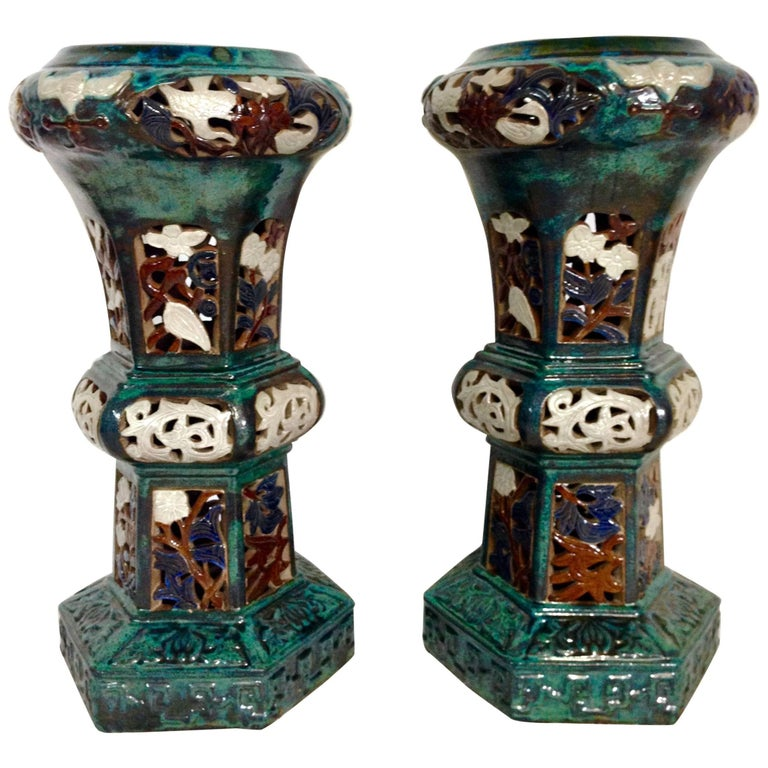 Pair of Statuesque Ceramic Glaze Chinese Export Garden Pedestal Plant Stands