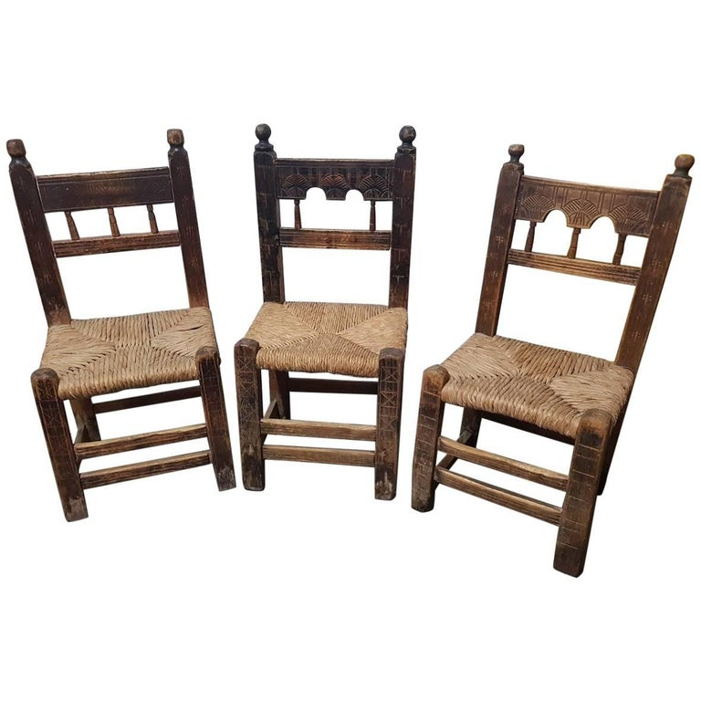 Three 18th Century Spanish Chairs with Carvings