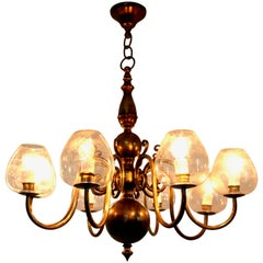 Eight-Arm Brass Chandelier with Blown Glass Lampshades, Italy, 1960s