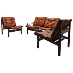 Torbjorn Afdal Hunter Modular Leather Sofa and Easy Chairs