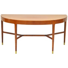 1950s Half Moon Mahogany Crescent or Console Table with Brass Fittings