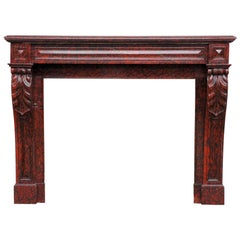 Antique Red Griotte Marble Mantel with Leaf Modillions, 19th Century