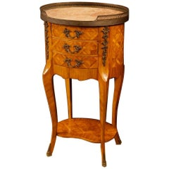 French Inlaid Side Table with Marble Top and Bronzes, 20th Century