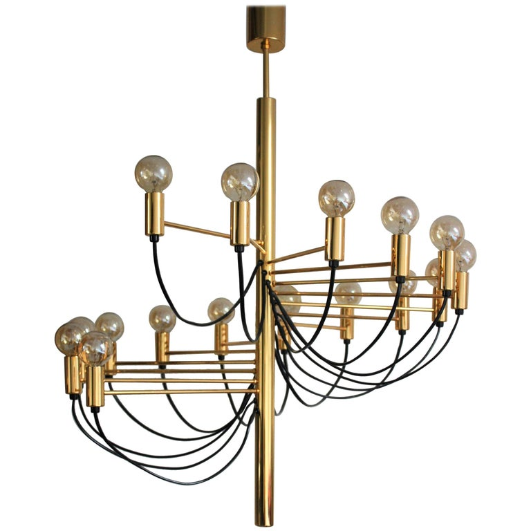 Golden 16 - Light Chandelier by Gino Sarfatti, Italy, circa 1980s