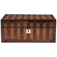 Antique Mahogany and Satinwood Striped Jewelry Box, 19th Century