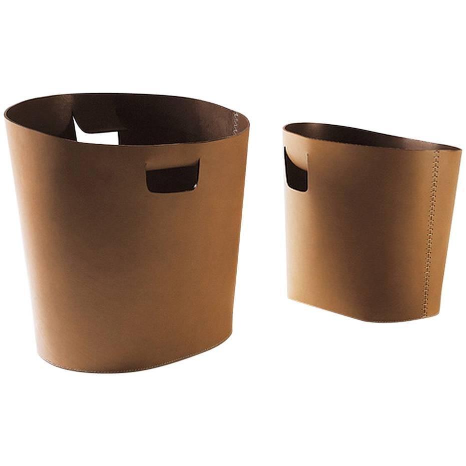 """Piero"" Leather Basket With Handles Designed by C. Bouchard for Oscar Maschera"