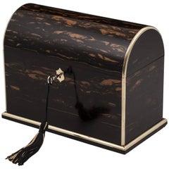 Dome Top Brass Bound Coromandel Jewellery Watch Box 19th Century