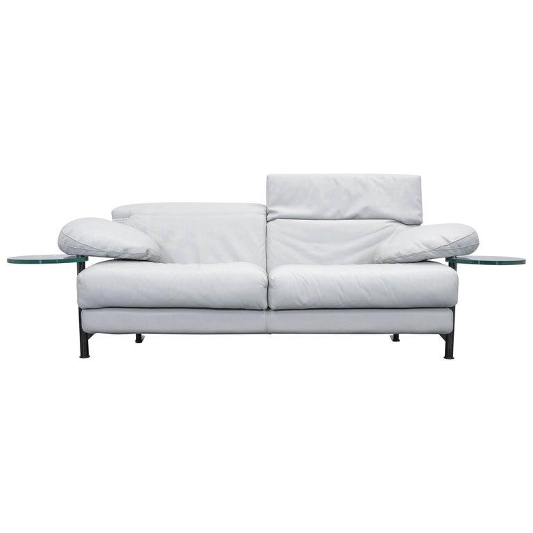 B&B Italia Arca Paolo Piva Designer Sofa Grey Leather Three-Seat Glass Function