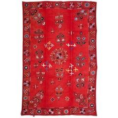 19th Century Uzbek Suzani, Silk Embroidery on Cotton Field