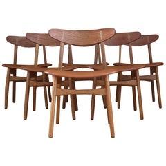 Set of Six Hans Wegner Model CH30 Oak Dining Chairs Carl Hansen & Son Denmark