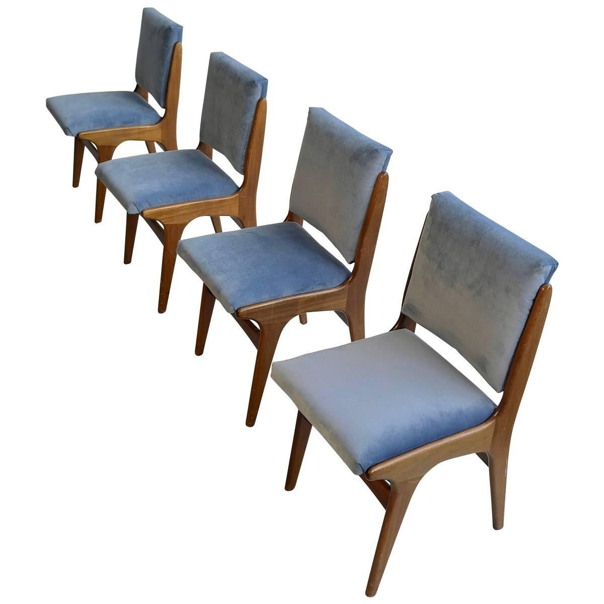 Four Dining Chairs in Ice Blue Velvet, in Style of Carlo di Carli, Italy, 1950s