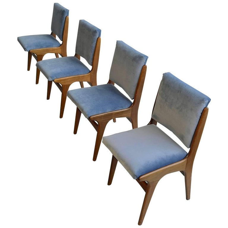 Four Dining Chairs in Ice Blue Velvet, in Style of Carlo di Carli, Italy, 1950s For Sale