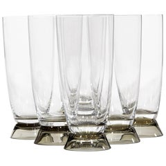 Rosenthal Glass Smoked Base Fortuna Water Stems by Elsa Fischer-Treyden, 1960s