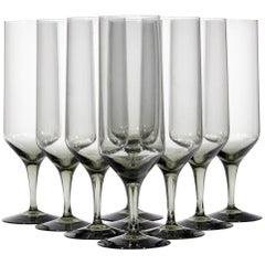 1950s Holmegaard Denmark Smoked Glass Champagne Flutes, Set of Nine