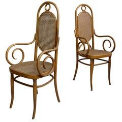 Pair of Sculptural Bendwood Side Chairs in Style of Thonet
