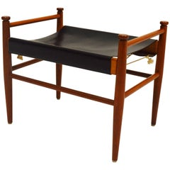 Designed Teak and Leather Foot Stool, circa 1960s
