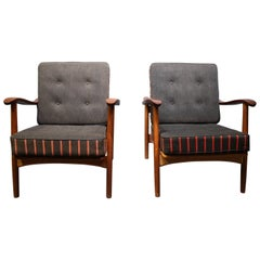Pair of Easy Chairs in Teak and Dark Grey Upholstery, Danish Design, 1960s