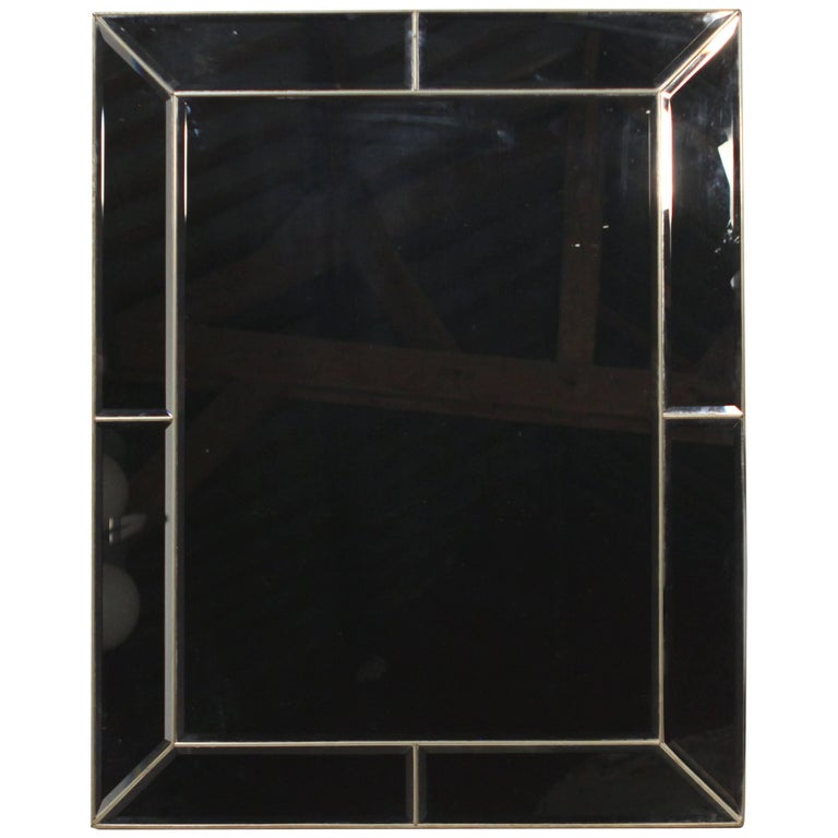 Brass and Wood Large Mirror, 1970s