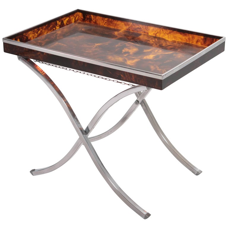 Refined Side Tray Table in Faux Tortoise from Maison Mercier, 1970s