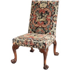 George II Carved Walnut Side Chair with French 18th Century Needlework