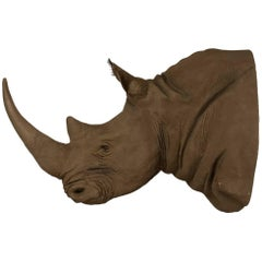 Massive Faux African Taxidermy Acrylic Hanging Rhino Head
