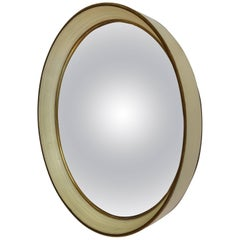 Round Convex Wall Mirror Turned Cream Wood Frame with Gilt Detail, Ca. 1925