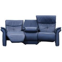 Mondo Designer Sofa Leather Blue Three-Seat Function Couch Modern