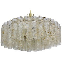 Midcentury Glass Chandelier by Doria Germany, 1970s